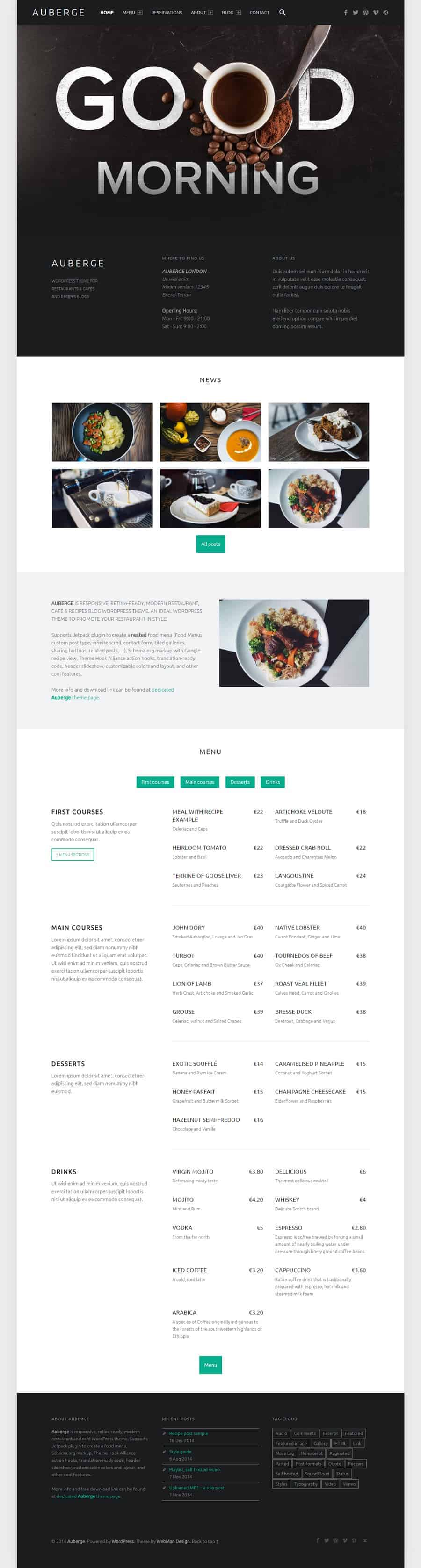 Auberge - free WordPress theme for restaurants