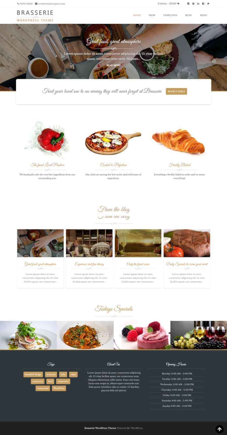 Brasserie, free WordPress theme for restaurants