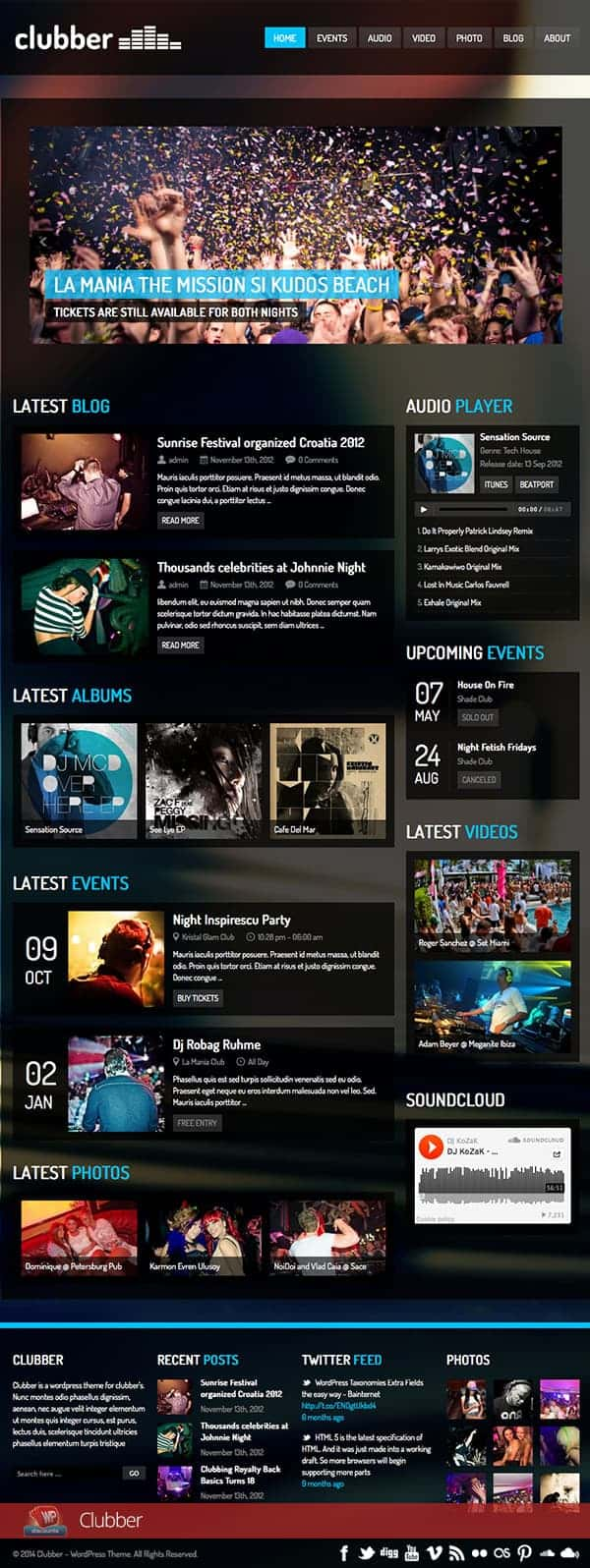 Clubber WordPress theme