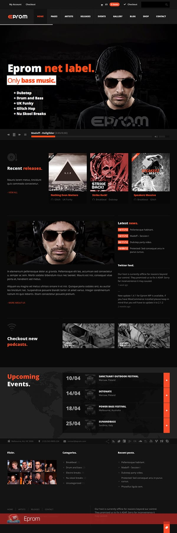 Eprom music label theme for WordPress
