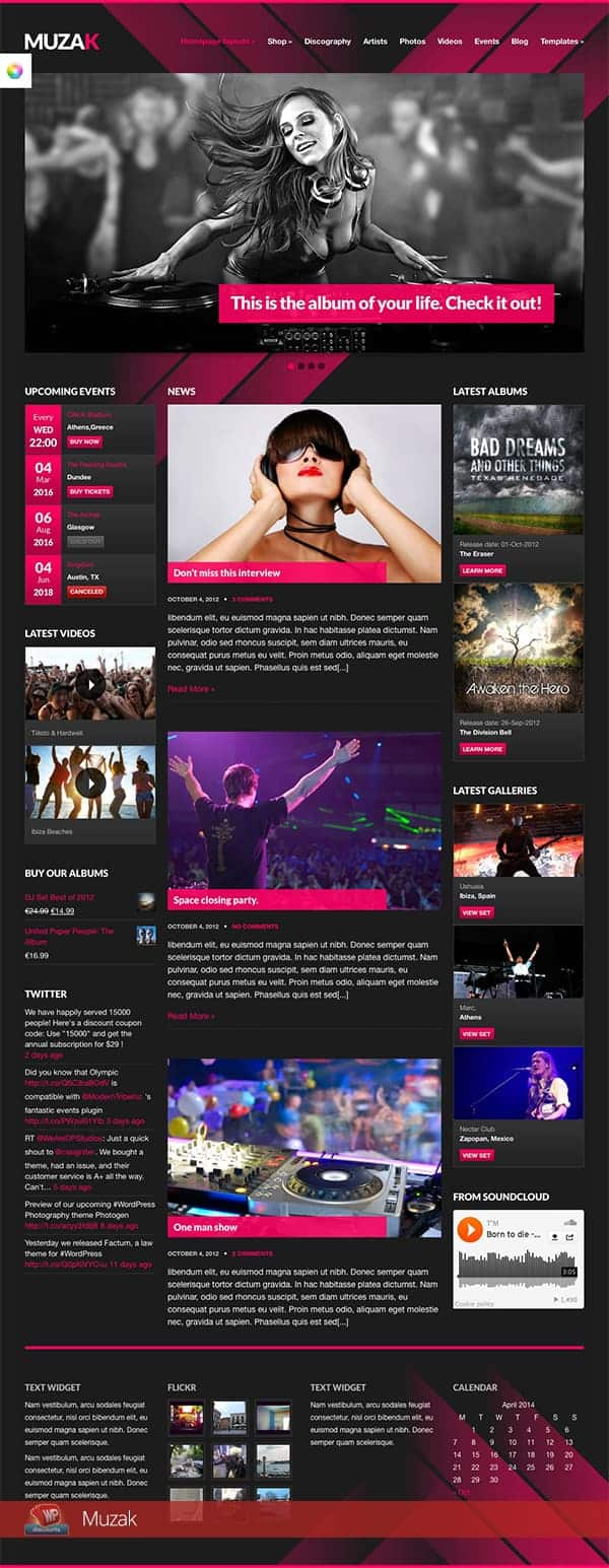 Muzak WordPress DJ theme