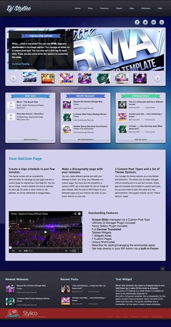 Stylico WordPress music theme