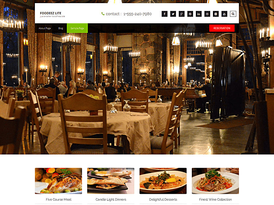Foodeez Lite, free restaurant theme for WordPress