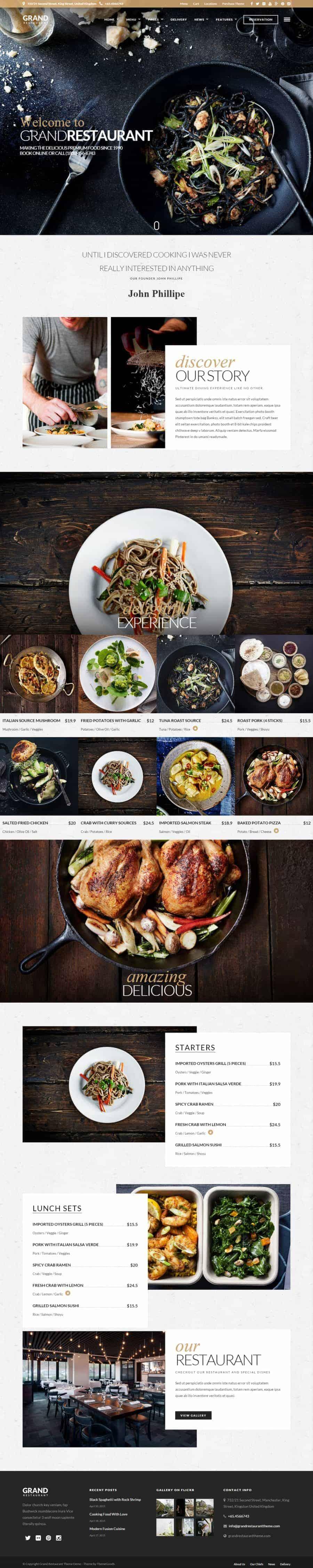 Grand Restaurant WordPress theme