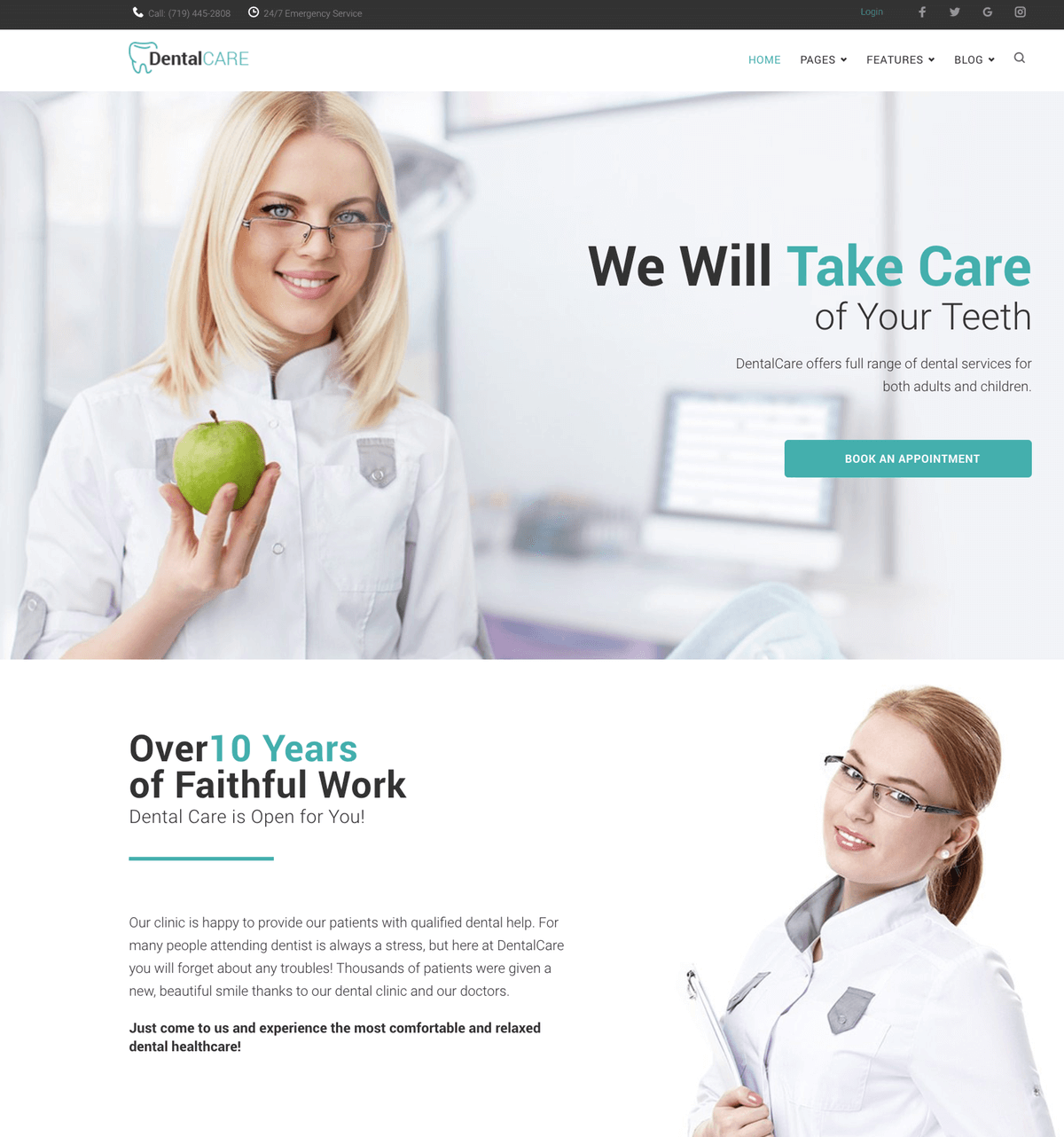 DentalCare - DentalClinic WordPress theme