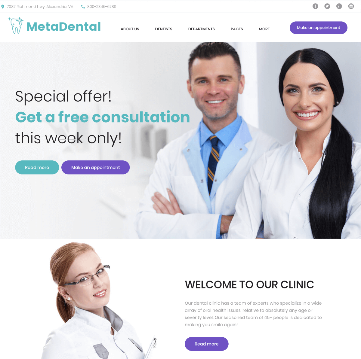 MetaDental private dental clinic responsive WordPress theme